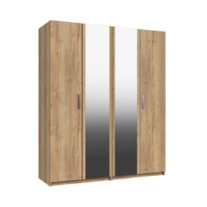 Wister Four Door Mirror Wardrobe - Natural Rustic Oak