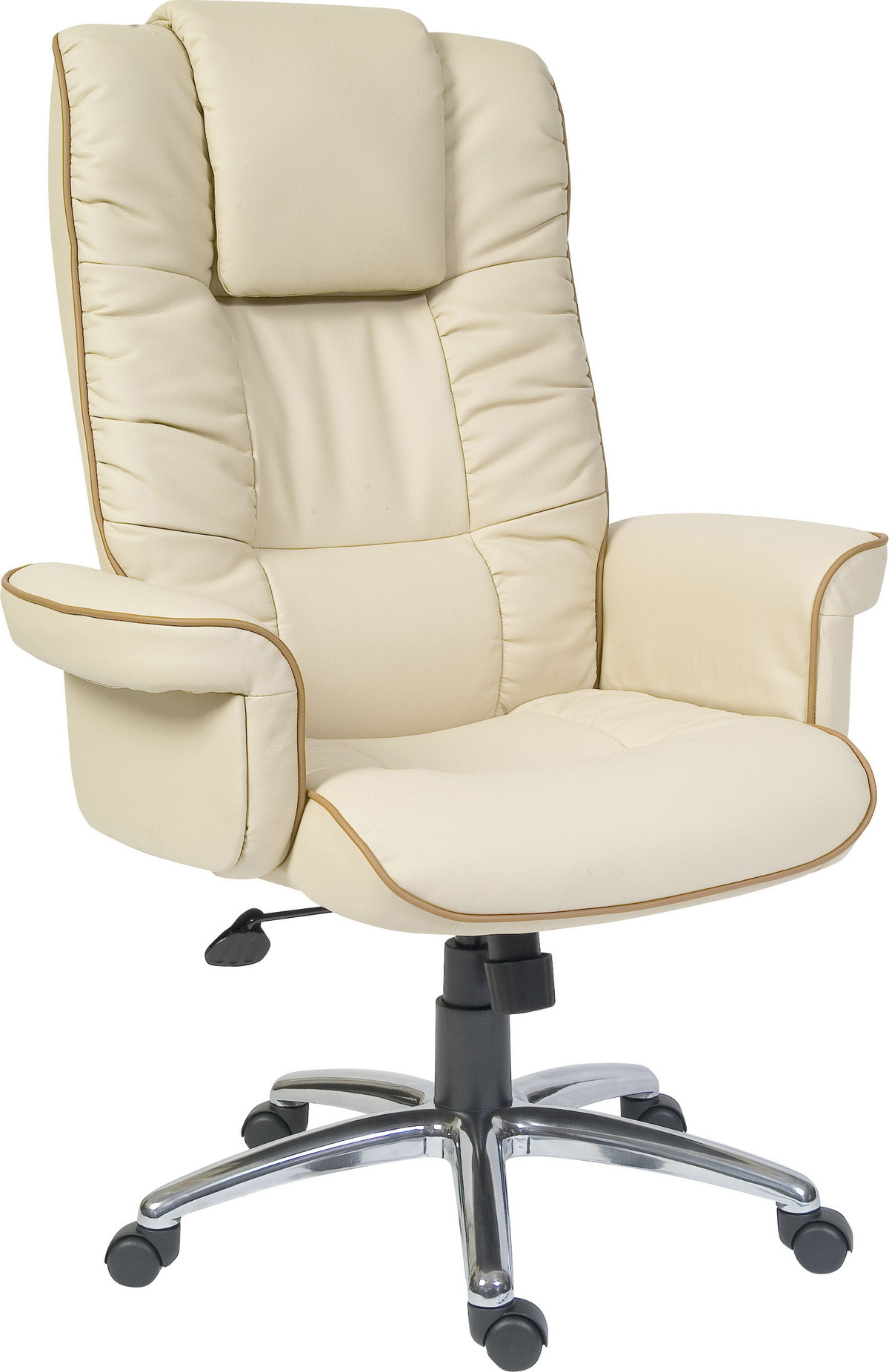 Comfo Cream Leather Bonded Office Chair With Arms