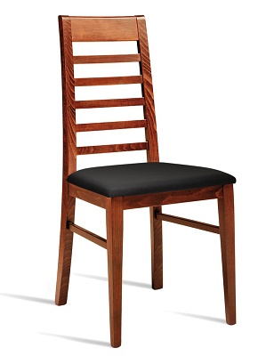 Danube High Backed Side Chair With Faux Leather Seat