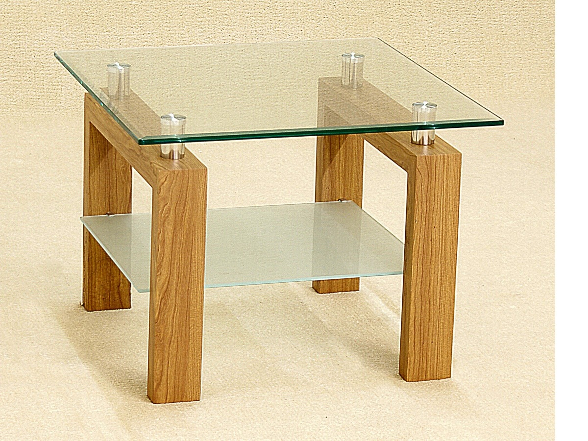 Asrinto Clear Glass And Oak Lamp Table
