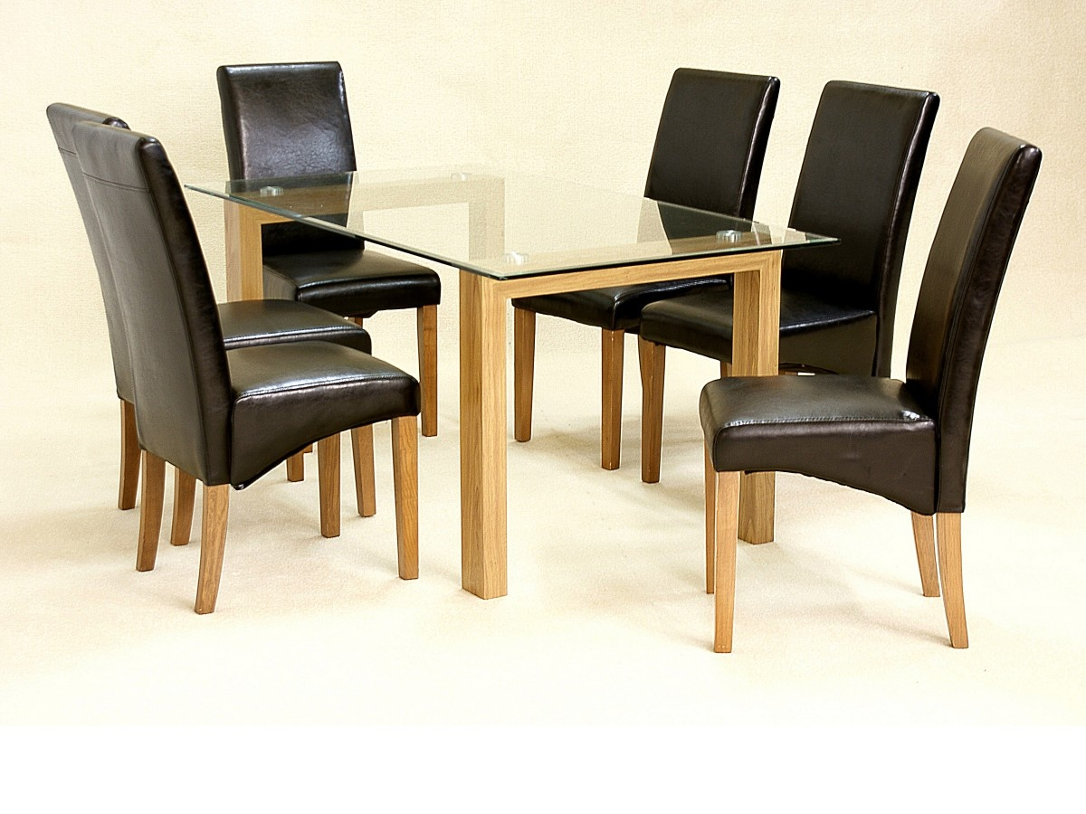 Small Dining Table Set For 4, Asrinto Small Oak Clear Glass Dining Kitchen Table Set