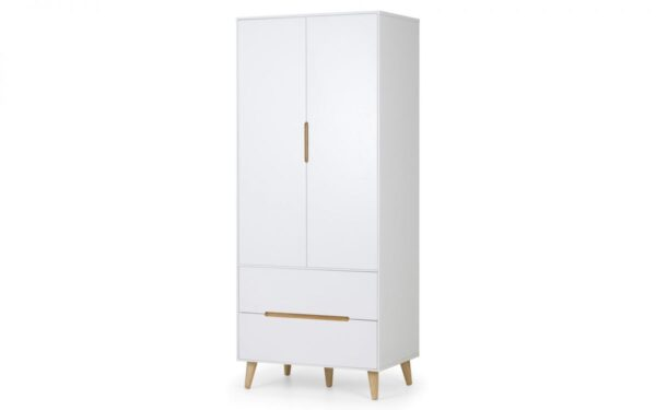Basoni 2 Door Combo Wardrobe Scandinavian Modern Retro White And Oak Legs