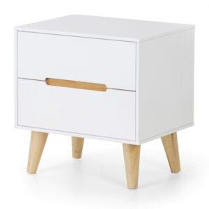Basoni 2 Drawer Wide Bedroom Chest Scandinavian Modern Retro White And Oak Legs