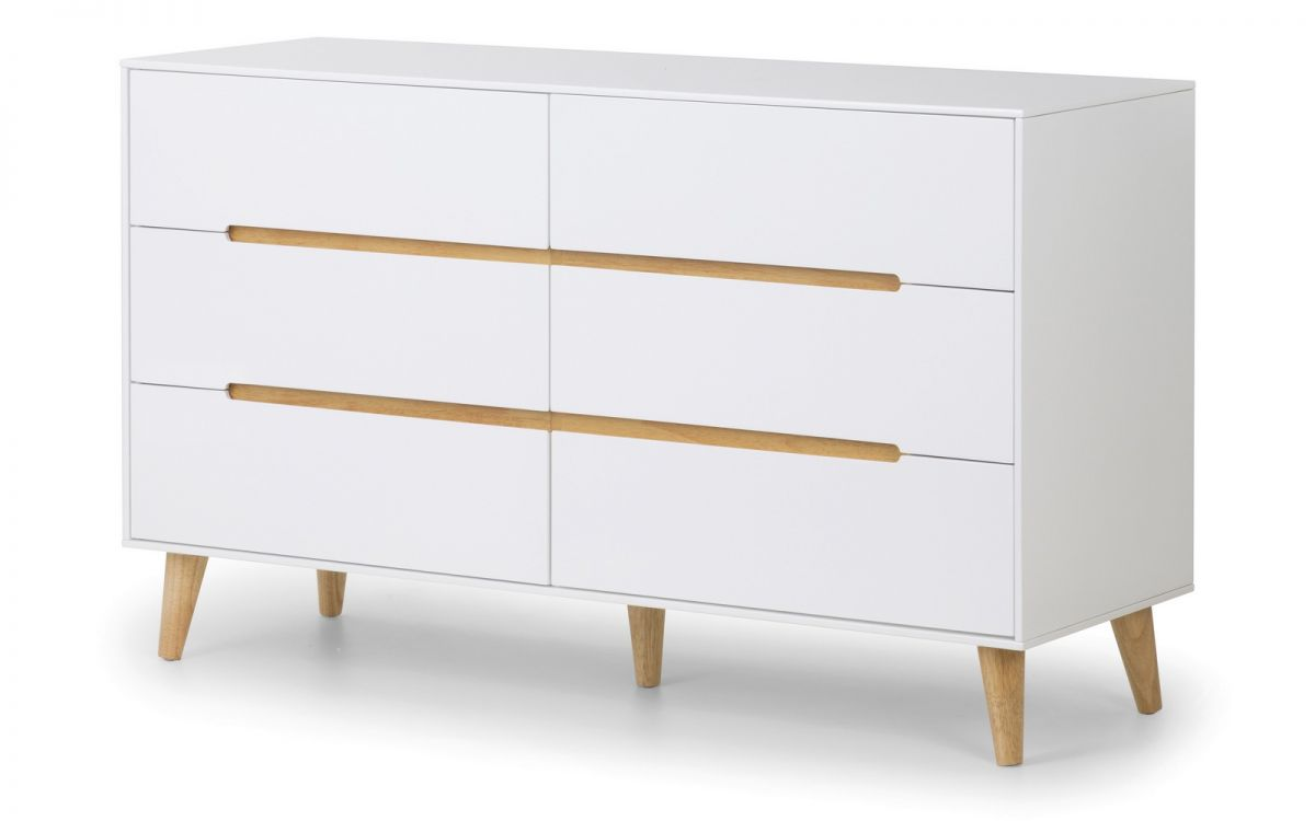 Basoni 6 Drawer Wide Bedroom Chest Scandinavian Modern Retro White And Oak Legs
