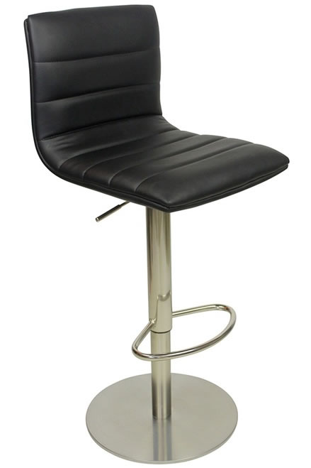 Alpino Deluxe Kitchen Breakfast Bar Stool Weighted Base Height Adjustable Padded Seat And Back - Black