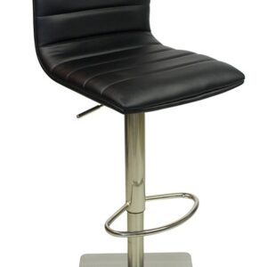 Alpino Brushed Or Chrome Deluxe Kitchen Breakfast Bar Stool Square Weighted Base Height Adjustable Padded - Black
