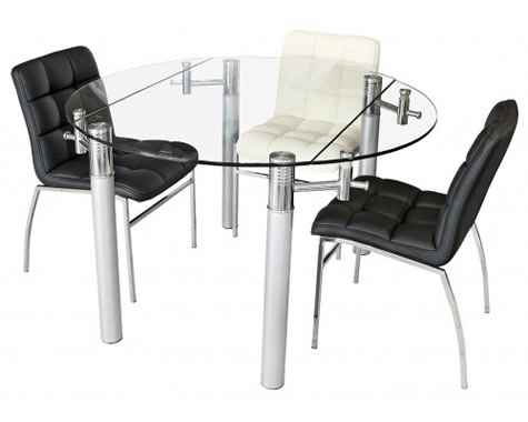 Alastair Large Extending Round Glass And Chrome Dining Table