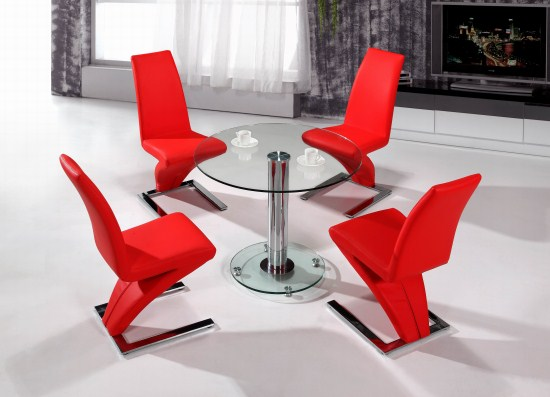 Al Round Glass Table And 4 Padded Chairs
