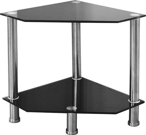 Abi Black Glass Corner Lamp Table Stand