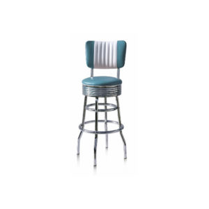 Arizona Diner Retro American Blue Kitchen Bar Stool Padded Back Rest Various Colours