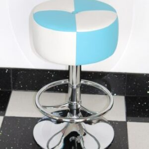 Morani American Diner Retro Style Kitchen Bar Stool Blue And White Padded Seat