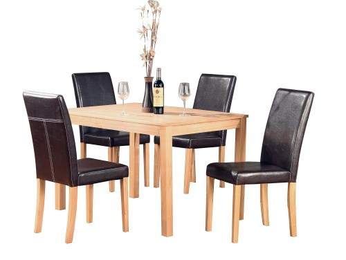 Dale Ash Rectangle Table And 4 Pu Chairs - Pu Black