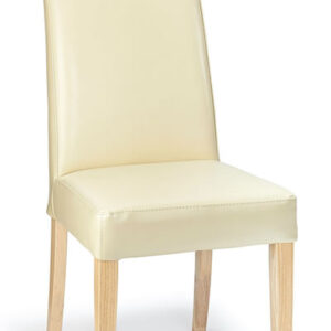 Cumbria Real Leather Dining Chair With Cream Seat And Oak Legs