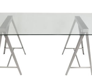 Amone Large Glass Rectangular Kitchen Dining Table Brushed Stainless Steel Frame