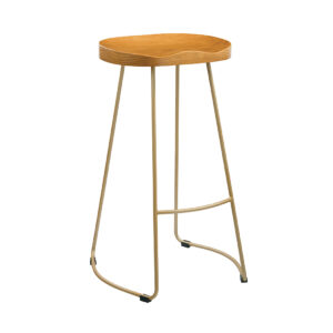 Bolley Pine Wood Seat Gold Effect Leg Bar Stool
