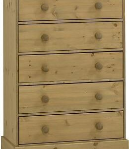 Caledonian Waxed Pine Chest - 5 Drawers Danish Made Quality