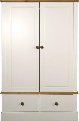 Caledonian Waxed Look Pine White 2 Door & 2 Drawer Wardrobe Danish Made Quality