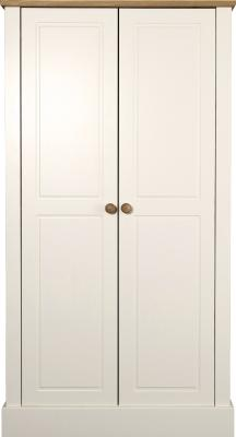 Caledonian Waxed Look Pine White 2 Door Wardrobe Danish Made Quality