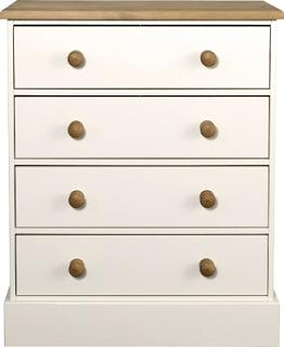 Caledonian Waxed Look Pine White 4 Drawer Chest Danish Made Quality