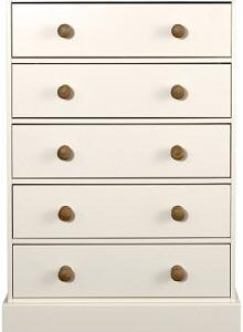 Caledonian Waxed Look Pine White 5 Drawer Chest Danish Made Quality