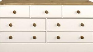 Caledonian Waxed Look Pine White Chest Of Drawers 3+4 Wide Danish Made Quality