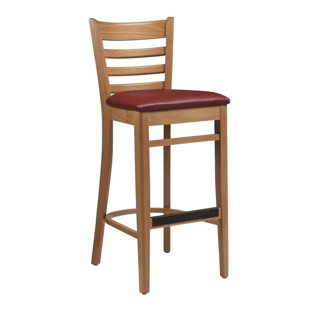 Cristo Natural Frame Red Seat Pad Wooden Breakfast Bar Kitchen Stool Fully Assembled