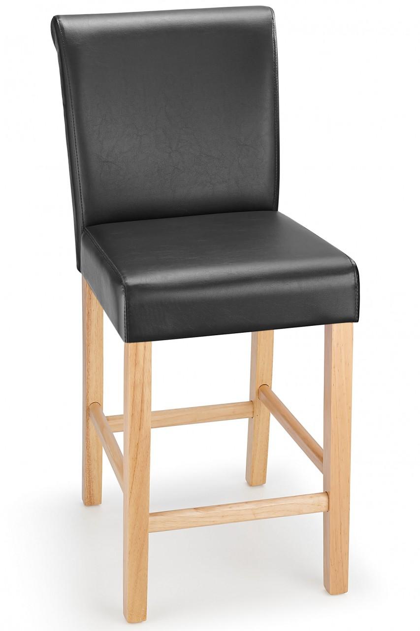 sienna oak frame kitchen bar stool black padded seat and back
