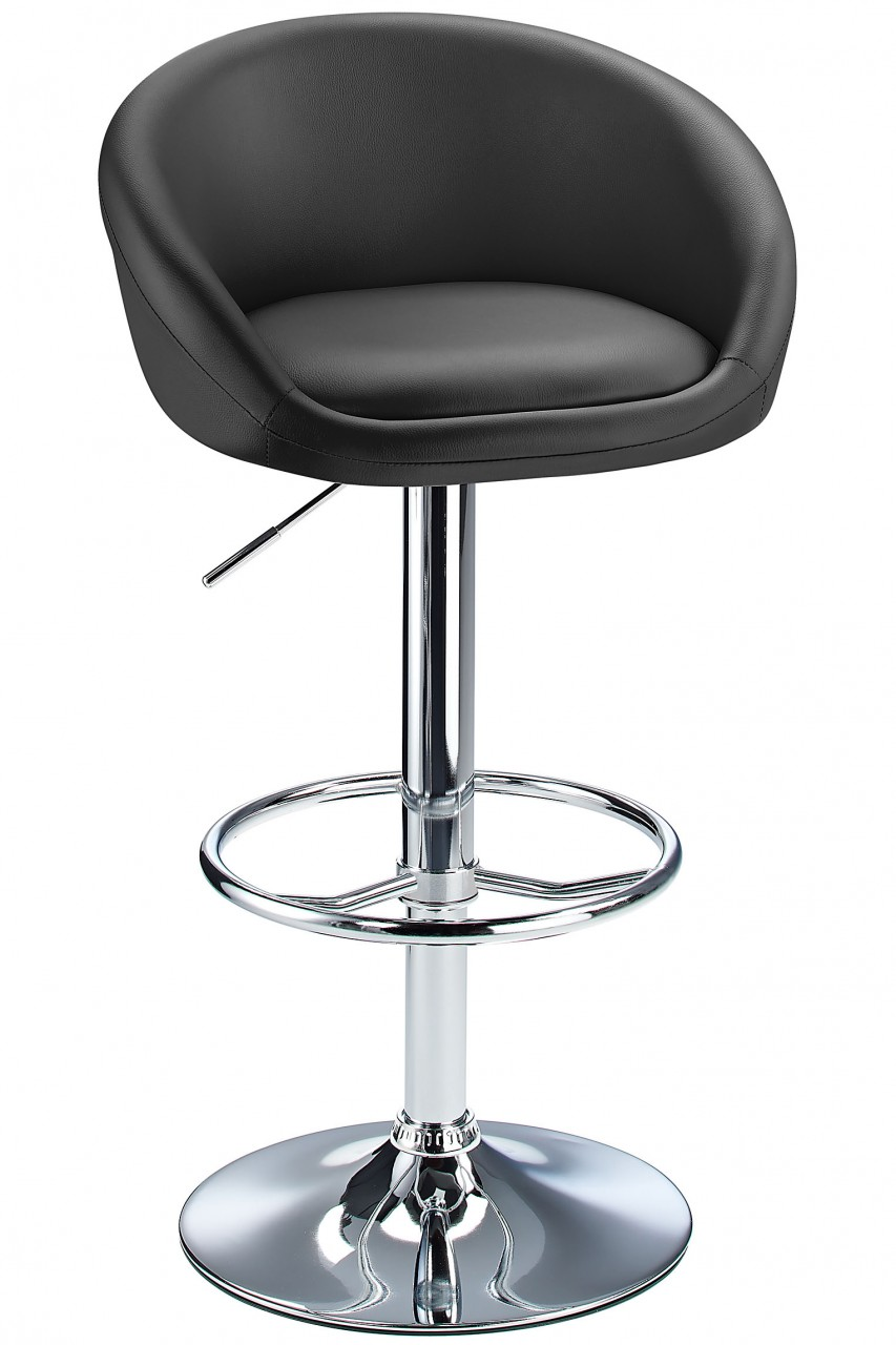 Lombardy Real Leather Kitchen Bar Stool Padded Seat Adjustable Height Chrome Frame 3 Colours - Black