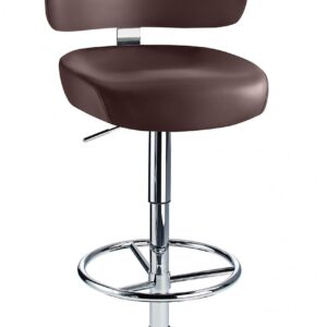 Jamaica Height Adjustable Bar Stool Brown Faux Leather Padded Seat