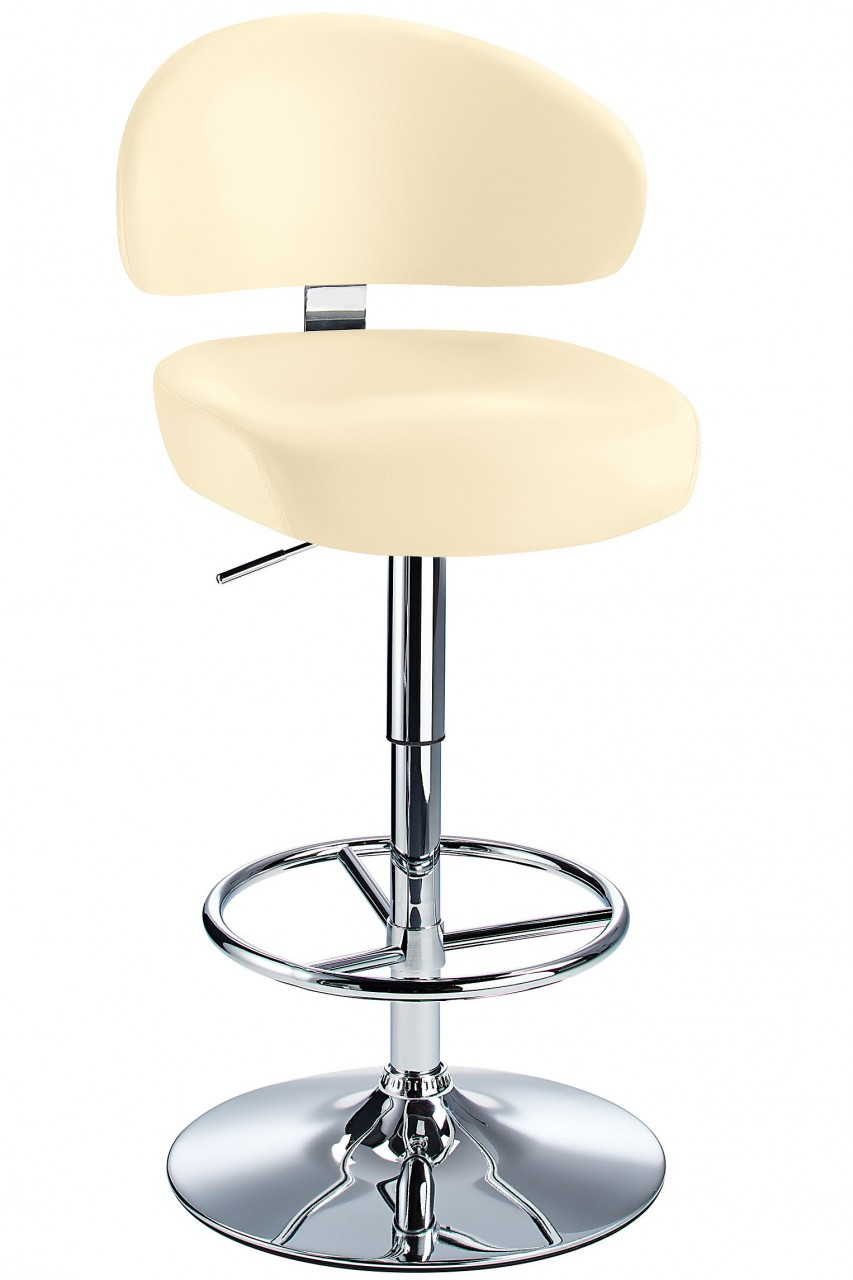 Jamaica Height Adjustable Bar Stool Cream Faux Leather Padded Seat