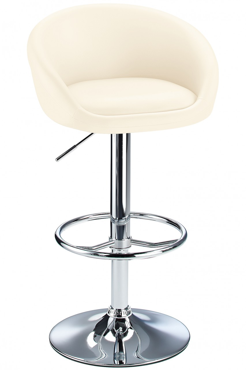 Lombardy Real Leather Kitchen Bar Stool Padded Seat Adjustable Height Chrome Frame 3 Colours - Cream