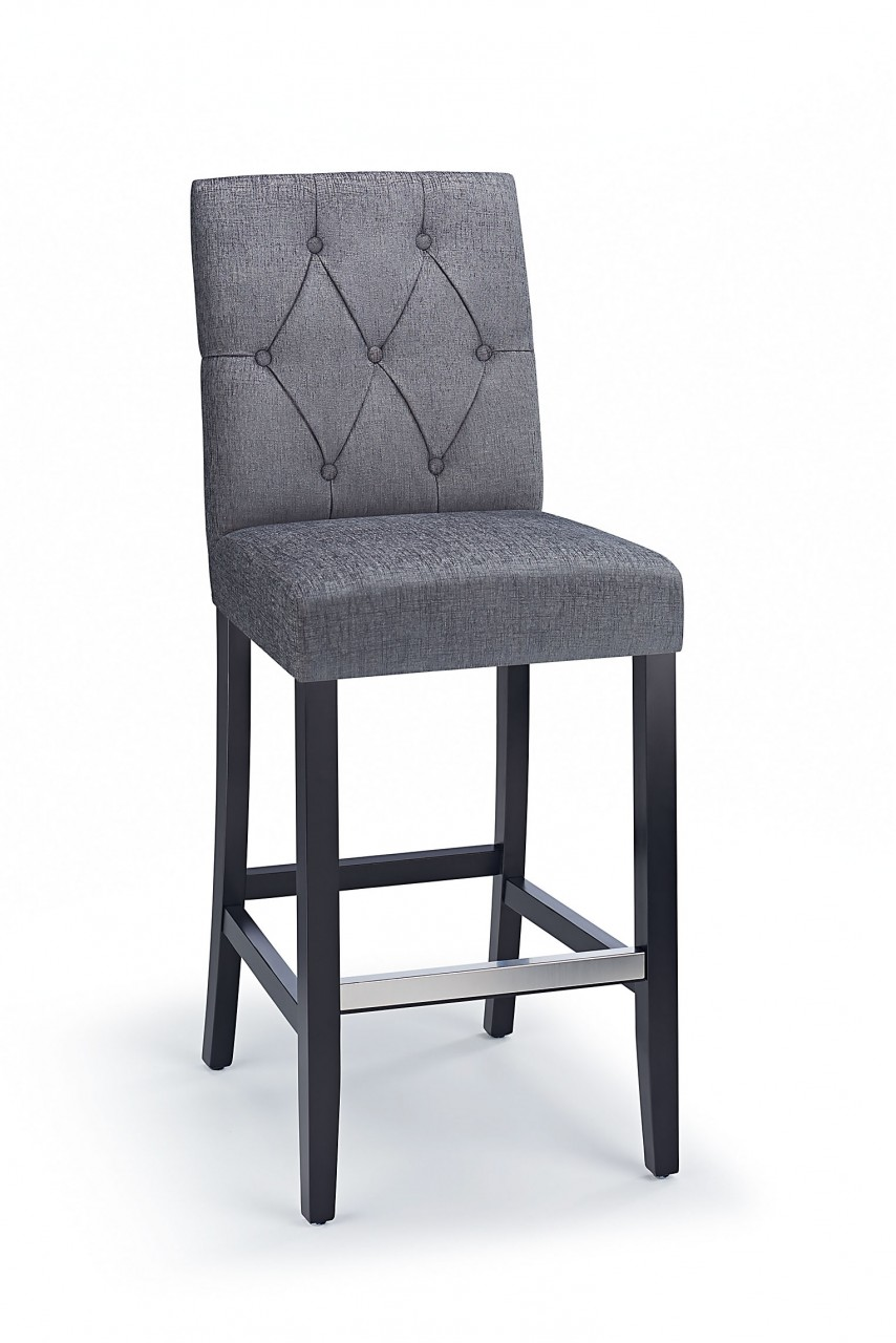 Rosco Black Wooden Kitchen Bar Stool - Grey