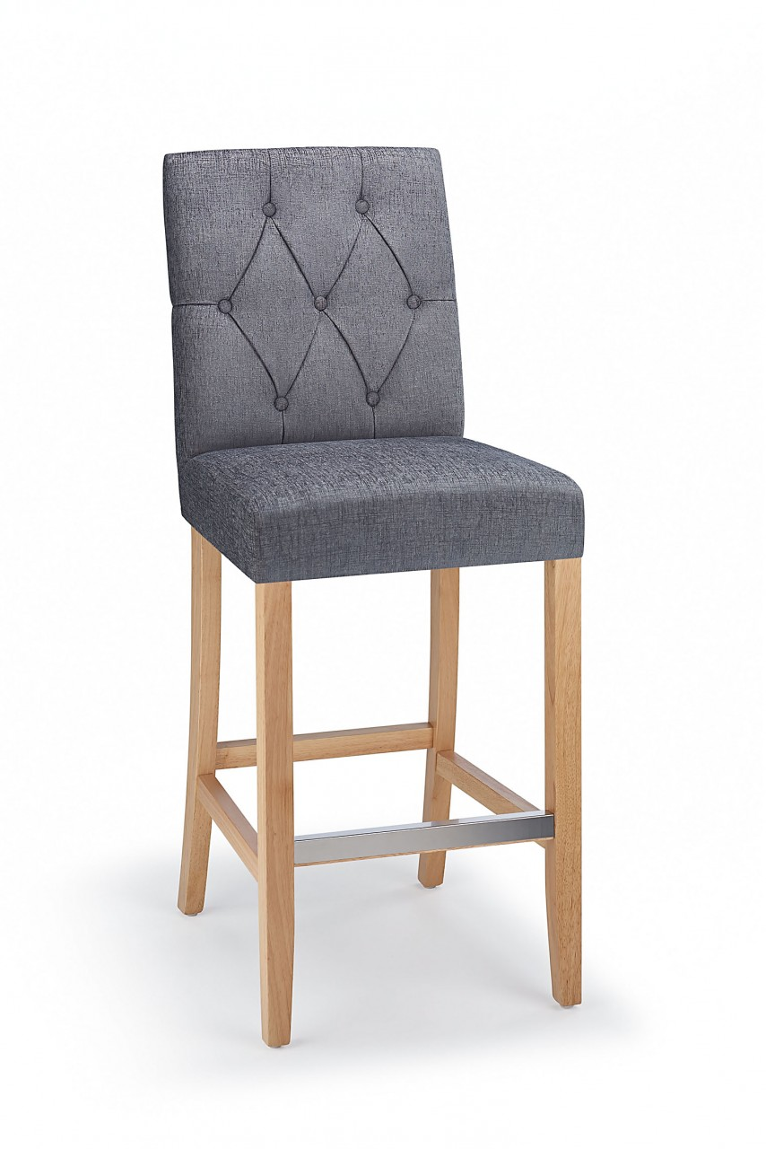 Rosco Oak Wooden Kitchen Bar Stool - Grey