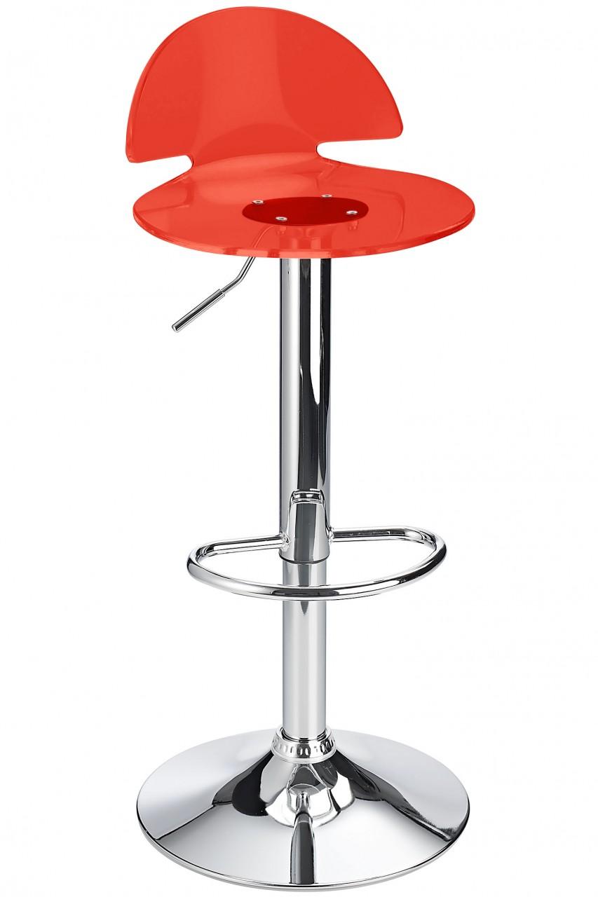 Celeston Red Kitchen Breakfast Bar Stool Perspex Transparent Height Adjustable