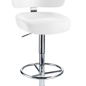 Jamaica Height Adjustable Bar Stool - With White Faux Leather Padded Seat