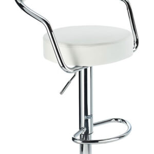 Lazio Adjustable Padded Kitchen Bar Stool White