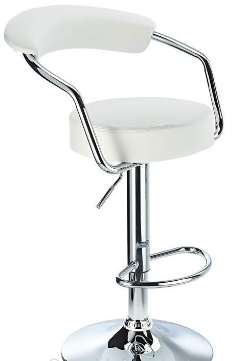 Lazio Adjustable Padded Kitchen Bar Stool White