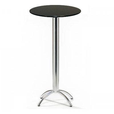 Barluna Tall Black Round Kitchen Bar Poseur Table Chrome Frame