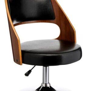 Shaymon Adjustable Bar Chair Wood And Leather Effect