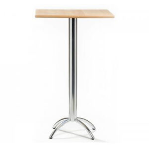 Barluna Tall Bar Table Natural Square Top Chrome Frame