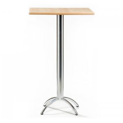 Barluna Tall Bar Table Natural Square Top Chrome Frame