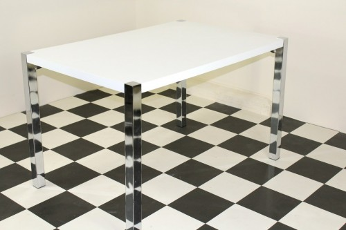 Repona Rectangular Retro Kitchen Diner Table High Gloss White Top