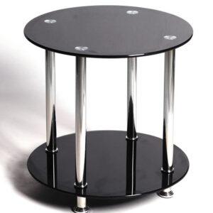 Bentin Lamp Table In Black Glass
