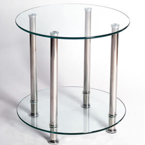 Bentin Clear Glass Lamp Table - Chrome Frame Modern And Stylish