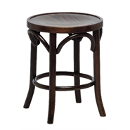 Benedict Beech Wood Low Stool - Walnut Fully Assembled Bentwood Style