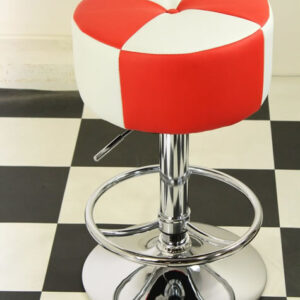 Morani American Diner Retro Style Kitchen Bar Stool Red And White Padded Seat