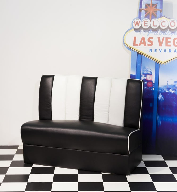 Chicago Retro 50'S Style Booth Chair Bench Seating Black And White Padded Seat And Back
