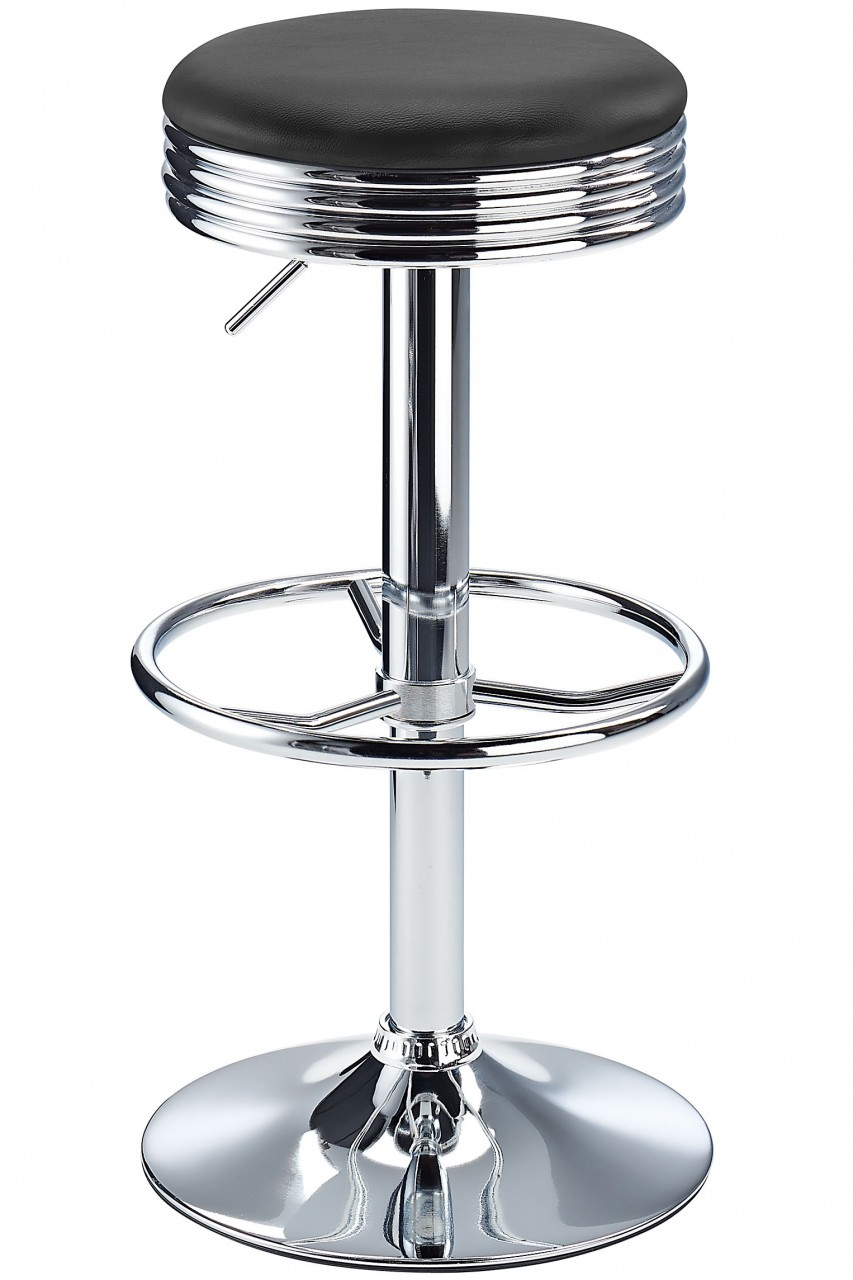 Calif American Diner Style Retro Kitchen Adjustable Bar Stool In Black