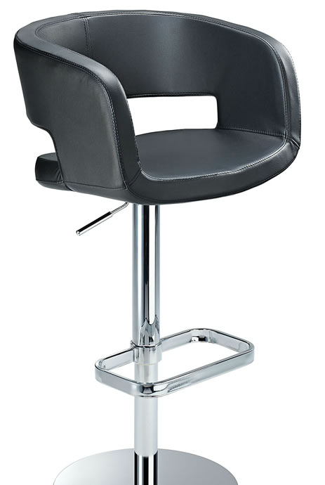 Appius Height Adjustable Black Bar Stool With Faux Leather Bucket Seat And Armrest