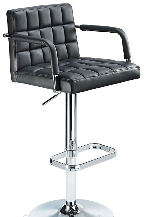 Chichi Retro Bar Stool Height Adjustable Real Or Faux Leather Chrome Or Brushed Stainless Steel Frame With Arms - Black Pvc Chrome Frame